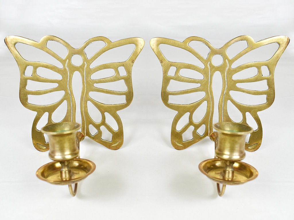 Vintage Wall Mounted Sconce Brass Butterfly Candlestick Candle Holders A Set Memorable Shop