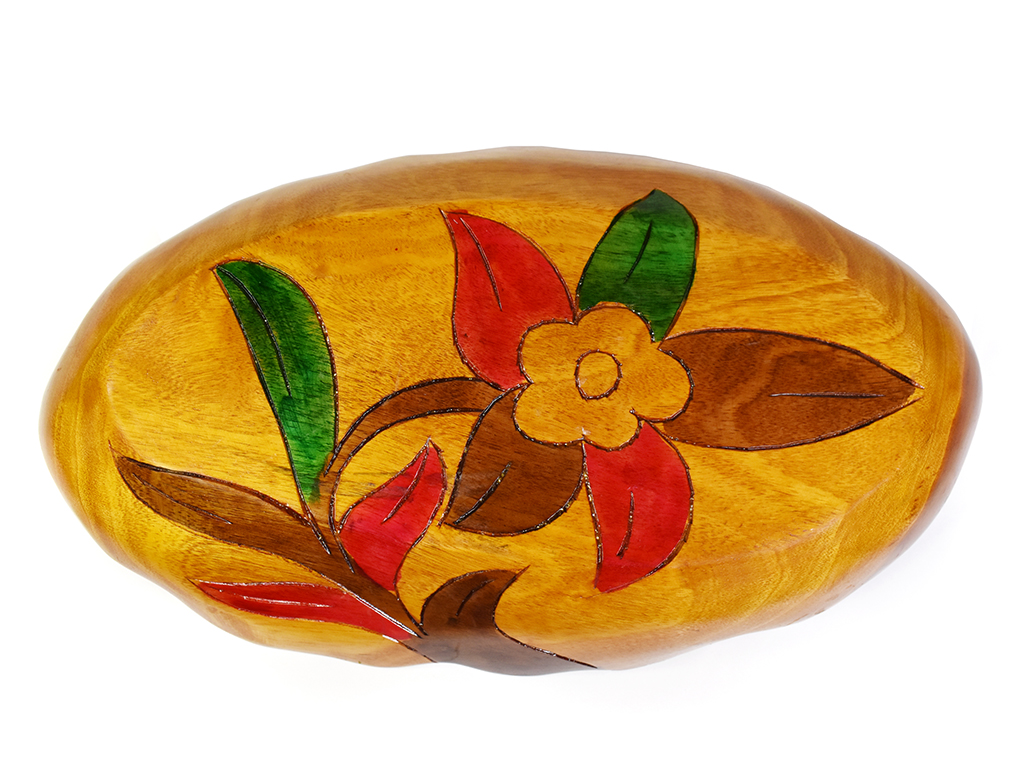 Vintage Boho Chic Hand Carved Painted Wooden Serving Snack Platter Tray Bowl Memorable Shop